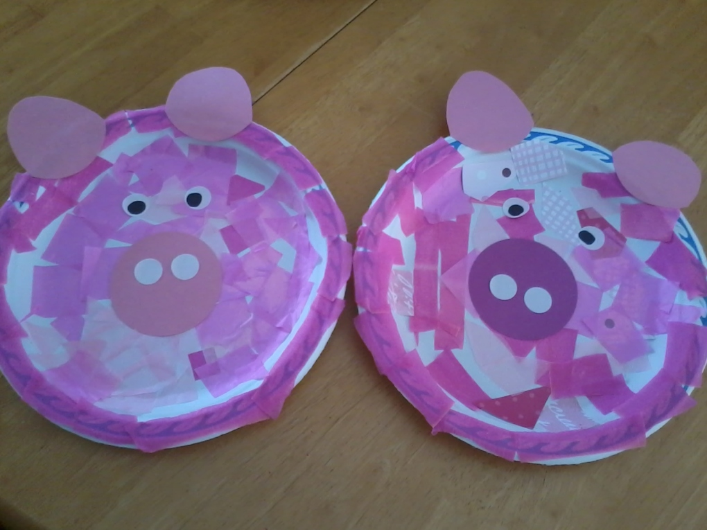 paper plate pigs made by me to give children and parents an idea of what to aim at.
