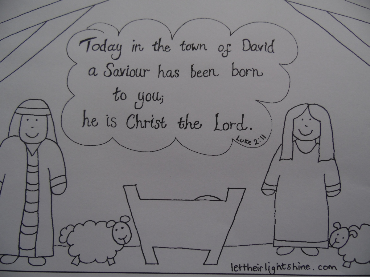Luke 2:11 colouring - with a PDF that works!