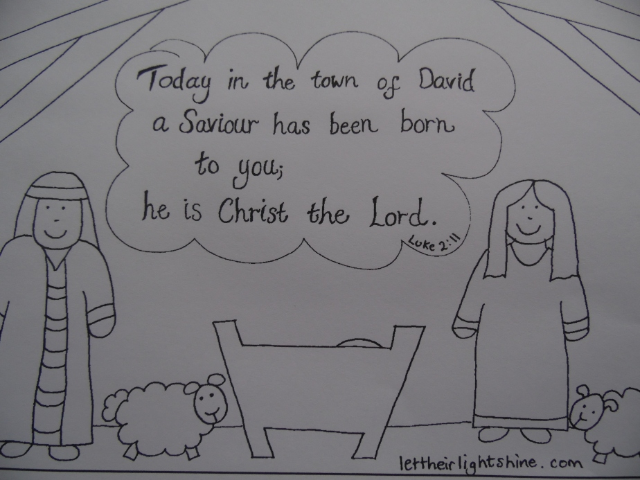 Luke 2:11 colouring – with a PDF thatworks!