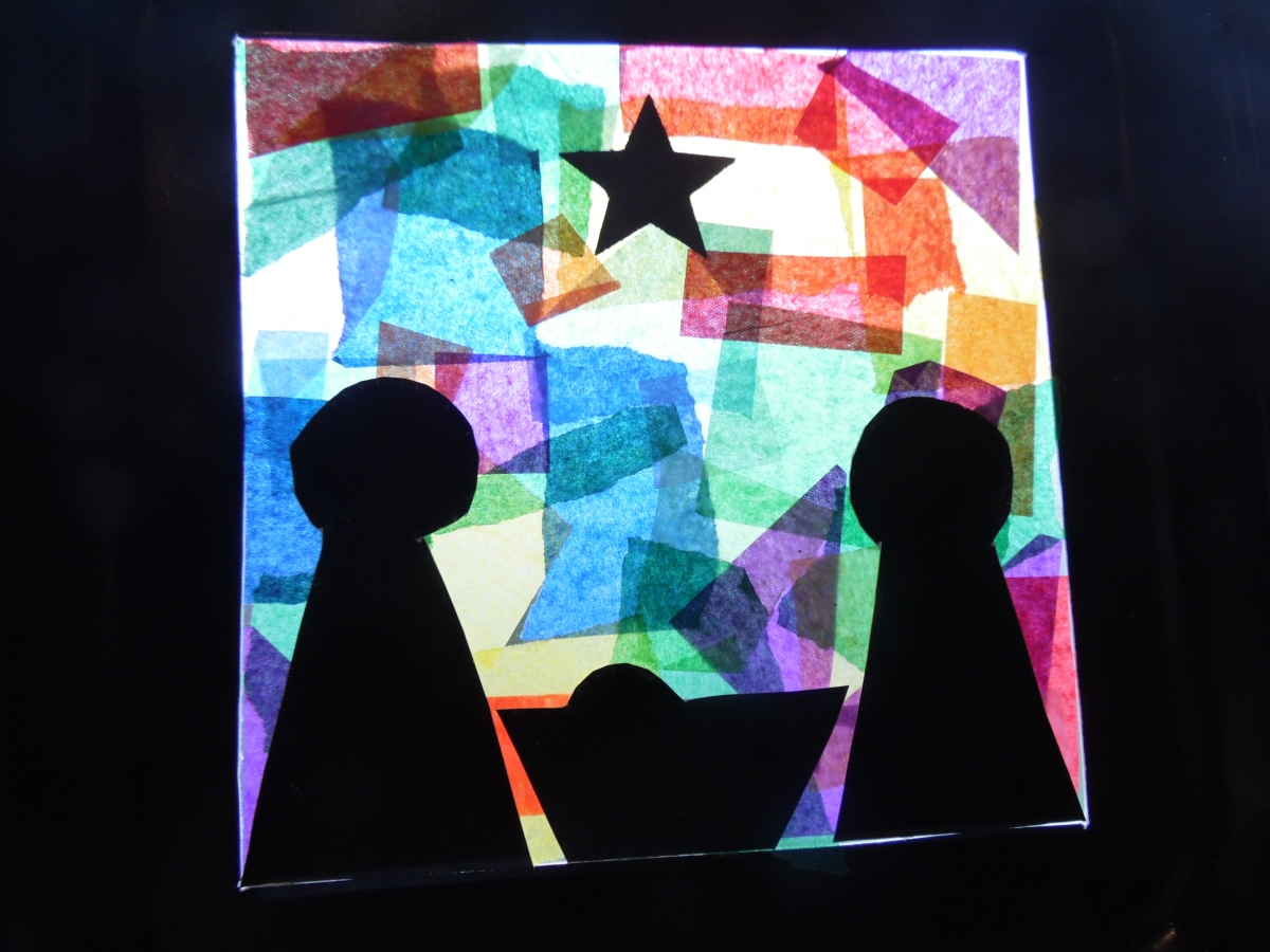 paper plate stained glass nativity
