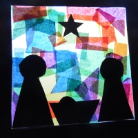 Christmas - paper plate stained glass nativity
